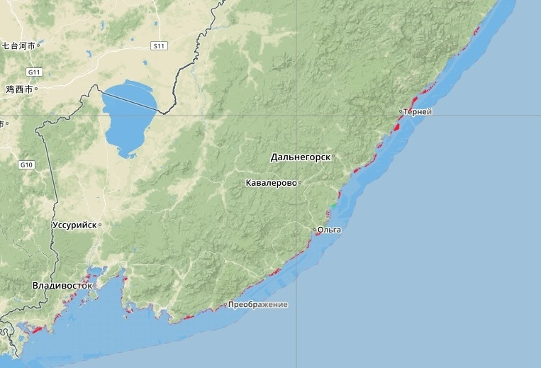 РВУ у берегов Приморья (отмечены красным). Фото: сайт www.aquavostok.ru (скриншот)