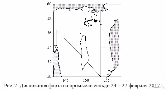 Дислокация флота на промысле сельди 24-27 февраля 2017