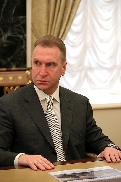 Председатель Государственной корпорации развития «ВЭБ.РФ» Игорь Шувалов на совещании с членами Правительства.