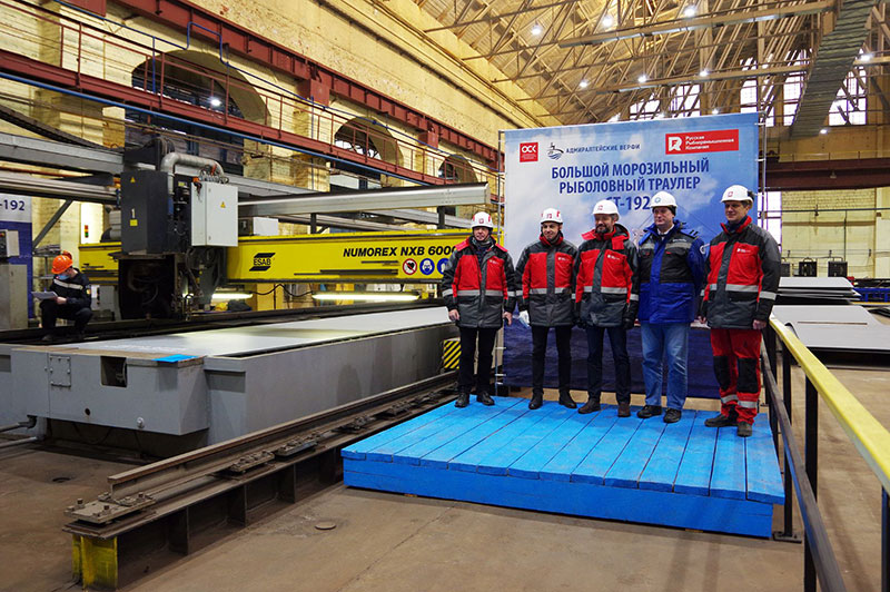 Steel cutting underway for the sixth supertrawler for Russian Fishery Company