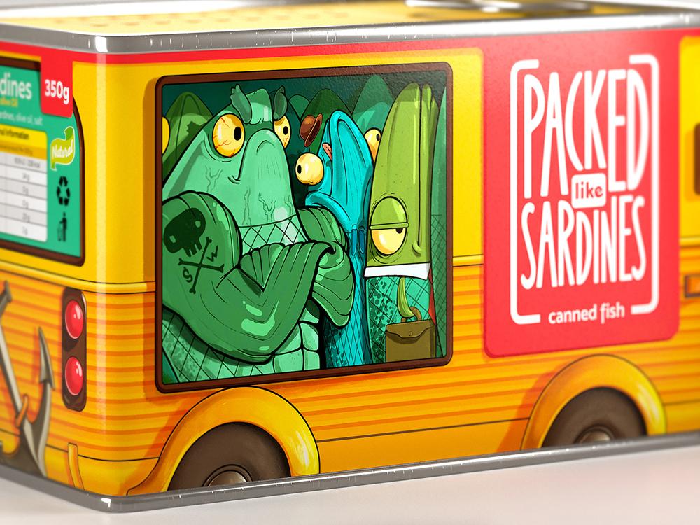 Агентство Brandiziac (Екатеринбург) разработало дизайн упаковки консервированной рыбы. Идея этой упаковки родилась от русской идиомы «Как сельди в бочке», аналогичной английской идиоме «Packed like sardines».